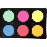 Wasserfarben im Set, Neonfarben, H: 16 mm, D: 44 mm, 1 Set