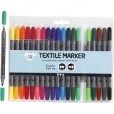 Stoffmalstifte, Standard-Farben, Strichstärke 2,3+3,6 mm, 20 Stck./ 1 Pck.
