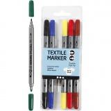 Stoffmalstifte, Standard-Farben, Strichstärke 2,3+3,6 mm, 6 Stck./ 1 Pck.