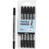 Stoffmalstifte, Schwarz, Strichstärke 2,3+3,6 mm, 6 Stck./ 1 Pck.