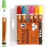 Stoffmalstifte, Neonfarben, Strichstärke 2-4 mm, 6 Stck./ 1 Pck.