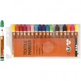 Stoffmalstifte, Sortierte Farben, Strichstärke 2-4 mm, 18 Stck./ 1 Pck.