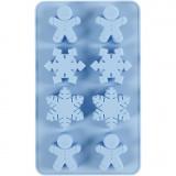 Silikonform, Eiskristalle und Lebkuchenmann, H: 2,5 cm, L: 24 cm, B: 14 cm, Lochgröße 30x45 mm, 12,5 ml, 1 Stck./ 1 Pck.