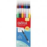 Berol Colourfine, Sortierte Farben, D: 10 mm, Strichstärke 0,3-0,7 mm, 12 Stck./ 1 Pck.