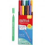 Berol Marker, Sortierte Farben, D: 10 mm, Strichstärke 1-1,7 mm, 12 Stck./ 1 Pck.