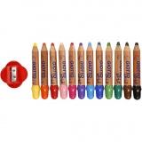 Buntstifte, Sortierte Farben, L: 10,5 cm, dicke 13 mm, Mine 6 mm, 12 Stck./ 1 Pck.