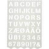 Buchstaben-/Zahlen-Schablone, Buchstaben und Zahlen, H: 25 mm, 21x29 cm, 1 Stck.