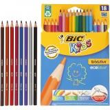 Evolution Buntstifte, Sortierte Farben, sechseckig, L: 17,5 cm, Mine 3 mm, 18 Stck./ 1 Pck.