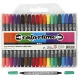 Colortime Dual-Filzstifte, Standard-Farben, Strichstärke 2,3+3,6 mm, 20 Stck./ 1 Pck.