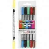 Colortime Dual-Filzstifte, Standard-Farben, Strichstärke 2,3+3,6 mm, 6 Stck./ 1 Pck.