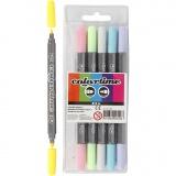 Colortime Dual-Filzstifte, Pastellfarben, Strichstärke 2,3+3,6 mm, 6 Stck./ 1 Pck.