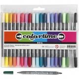 Colortime Dual-Filzstifte, Zusätzliche Farben, Strichstärke 2,3+3,6 mm, 20 Stck./ 1 Pck.