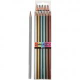 Colortime Buntstifte, Metallic-Farben, L: 17,45 cm, Mine 3 mm, 6 Stck./ 1 Pck.