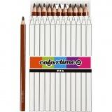 Colortime Buntstifte, Braun, L: 17,45 cm, Mine 5 mm, JUMBO, 12 Stck./ 1 Pck.