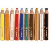 Woody 3-in-1 Buntstifte, Sortierte Farben, L: 11 cm, dicke 16 mm, Mine 10 mm, 10 Stck./ 1 Pck.