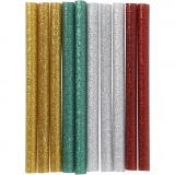 Heißkleber-Sticks, Gold, Grün, Rot, Silber, L: 10 cm, Glitter, 10 Stck./ 1 Pck.