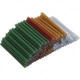 Heißkleber-Sticks, Gold, Grün, Rot, Silber, L: 10 cm, D: 7 mm, Glitter, 100 Stck./ 1 Pck.