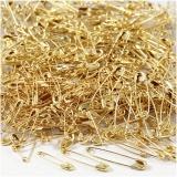 Sicherheitsnadeln, Gold, L: 19+22+28 mm, dicke 0,5-0,6 mm, 600 Stck./ 1 Pck.