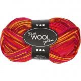 Sockenwolle, Harmonie in Rot-Orange, L: 200 m, 50 g/ 1 Knäuel