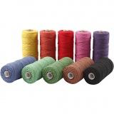 Baumwollkordel - Sortiment, Kräftige Farben, L: 315 m, dicke 1 mm, Dünne Qualität 12/12, 10x220 g/ 1 Pck.