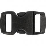 Klickverschluss, Schwarz, L: 29 mm, B: 15 mm, Lochgröße 3x11 mm, 4 Stk/ 1 Pck