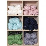 XL-Chunky-Garn aus Polyacryl/Wolle, Sortierte Farben, L: 15 m, Größe mega , 6x5 Knäuel/ 1 Pck