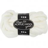 XL-Chunky-Garn aus Polyacryl/Wolle, Naturweiß, L: 15 m, Größe mega , 300 g/ 1 Knäuel