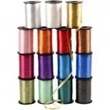 Kräuselband - Sortiment , Sortierte Farben, B: 10 mm, Glänzend, 15x250 m/ 1 Pck.