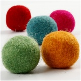 Filzkugeln, Kräftige Farben, D: 20 mm, 64 Stck./ 1 Pck.