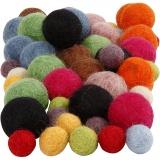 Filzkugeln, Sortierte Farben, D: 10+20 mm, 52 Stck./ 1 Pck.