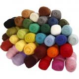 Kardierte Wolle - Sortiment, Sortierte Farben, 35x100 g/ 1 Pck.