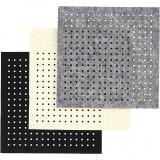 Bastelfilz mit Löchern, Schwarz, Grau, Naturweiß, Größe 20x20 cm, dicke 3 mm, 3x4 Bl./ 1 Pck.