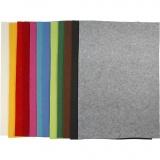 Bastelfilz, Sortierte Farben, 42x60 cm, dicke 3 mm, 12 Bl. sort./ 1 Pck.