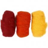Kardierte Wolle, Harmonie in Gelb-Terrakotta, 3x10 g/ 1 Pck.