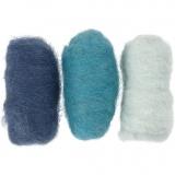 Kardierte Wolle, Blautöne, 3x10 g/ 1 Pck.