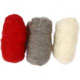 Kardierte Wolle, Harmonie in Rot-Weiß, 3x10 g/ 1 Pck.