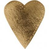 Herz, Gold, H: 12 cm, B: 10 cm, 350 g, 4 Stck./ 1 Pck.