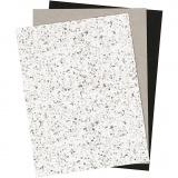 Kunstlederpapier, 21x27,5+21x28,5+21x29,5 cm, dicke 0,55 mm, Einfarbig,Foliedetails,Bedruckt, 3 Bl./ 1 Pck.
