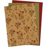Kunstlederpapier, Natur, Grün, Rot, 21x27,5+21x28,5+21x29,5 cm, dicke 0,55 mm, Einfarbig,Bedruckt, 3 Bl./ 1 Pck.