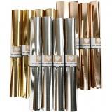 Kunstlederpapier, Gold, Rosa gold, Silber, B: 49 cm, dicke 0,55 mm, Einfarbig,Foliedetails, 12x1 m/ 1 Pck.