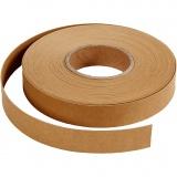 Lederpapierstreifen / Flechtstreifen, Hellbraun, B: 15 mm, dicke 0,55 mm, 9,5 m/ 1 Rolle