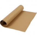 Kunstlederpapier, Hellbraun, Gold, B: 50 cm, Einfarbig,Foliedetails, 350 g, 1 m/ 1 Rolle