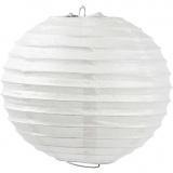 Reispapier-Lampe/-Lampion, Weiß, Rund, D: 20 cm, 1 Stck.