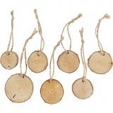 Holzscheiben mit Loch, D: 35-45 mm, Dicke 7 mm, 7 Stk/ 1 Pck