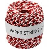 Papierkordel, Rot/Weiß, Dicke 1 mm, 50 m/ 1 Rolle