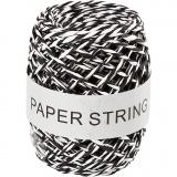 Papierkordel, Schwarz/Weiß, Dicke 1 mm, 50 m/ 1 Rolle