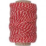 Baumwollkordel, Rot/Weiß, dicke 1,1 mm, 50 m/ 1 Rolle
