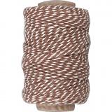 Baumwollkordel, Braun/Weiß, dicke 1,1 mm, 50 m/ 1 Rolle