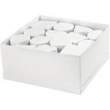 Mini-Deckelkartons - Sortiment, Weiß, H: 5 cm, D: 10-12 cm, 27 Stck./ 1 Pck.