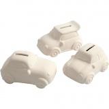 Spardose, Autos, Weiß, H: 5,5 cm, L: 12,5 cm, B: 7,8 cm, 12 Stck./ 1 Box
